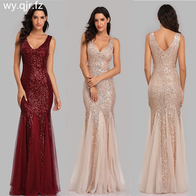 HJQ-813#Bridesmaid Dresses Long Golden Burgundy Dark Blue Fishtail Sequins Wedding Party Dress Wholesale Women Clothing Sexy