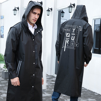 Yuding Black Fashion Long Men Raincoat Unisex Adult Waterproof Poncho Tour Plastic Rain Coat with Letter Printing Drawstring