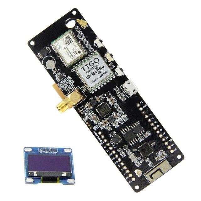 TTGO T Beam V1.1 ESP32 433/868/915/923Mhz WiFi Bluetooth Module ESP32 GPS NEO 6M SMA 18650 Battery Holder With OLED