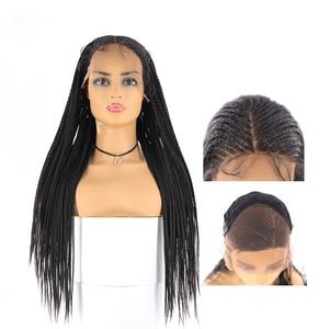 Image 2 - Boîte tresses synthétique dentelle avant perruques sénégalais torsion longue droite oreille à loreille cheveux tressés 13X4 perruque de dentelle avec des cheveux de bébé X TRESS