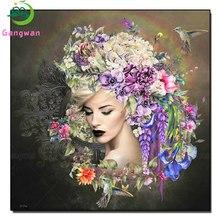 Diamond embroidery Hummingbird,flower iris fantasy woman cross stitch Diy diamond painting sale European sexy beauty picture art