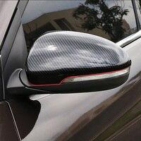 Car Rearview Mirror Trim Stickers For 2015 2016 2017 2018 Hyundai Tucson TL Auto Carbon Fiber Grain Covers Car Styling