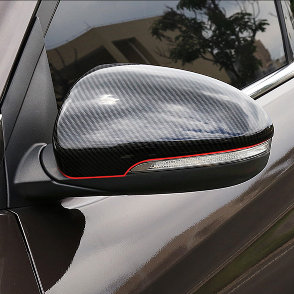 Car Rearview Mirror Trim Stickers For 2015 2016 2017 <font><b>2018</b></font> <font><b>Hyundai</b></font> <font><b>Tucson</b></font> TL Auto Carbon Fiber Grain Covers Car Styling image
