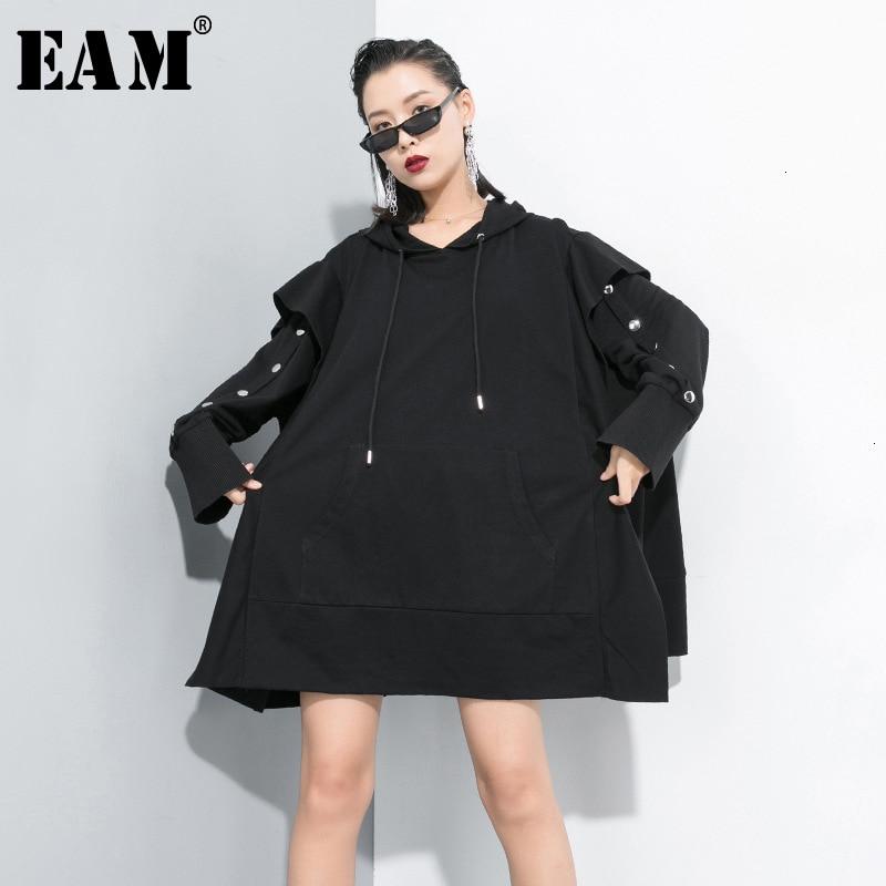 [EAM] Loose Fit Black Oversized Split Long Sweatshirt New Hooded Long Sleeve Women Big Size Fashion Autumn Winter 2019 1D656