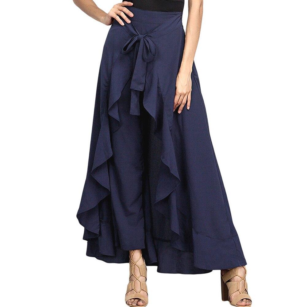 Women Palazzo Pants 2020 Causal Ruffle Drawstring Trouser Elegant High Waist Irregular Loose Pure Color Autumn Female Pant Skirt 10