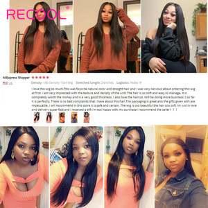 Image 5 - Recool 4X4 Lace Closure Wig Straight Lace Front Human Hair Wigs 200 Density 360 Full Lace Wig 28 30 Inch 13x6 Lace Wig Glueless