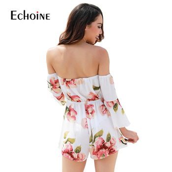Sexy fashion Floral Print Women Jumpsuit 2019 Summer Beach Off Shoulder Body suit Casual Loose Playsuit plus size 4XL jumpsuits 2