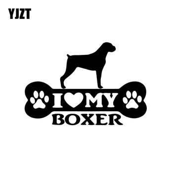 YJZT 15X10.2CM Funny Animal Dog Vinyl Decal Boxer Bone Car Sticker Decor Black/Silver C24-1197 image