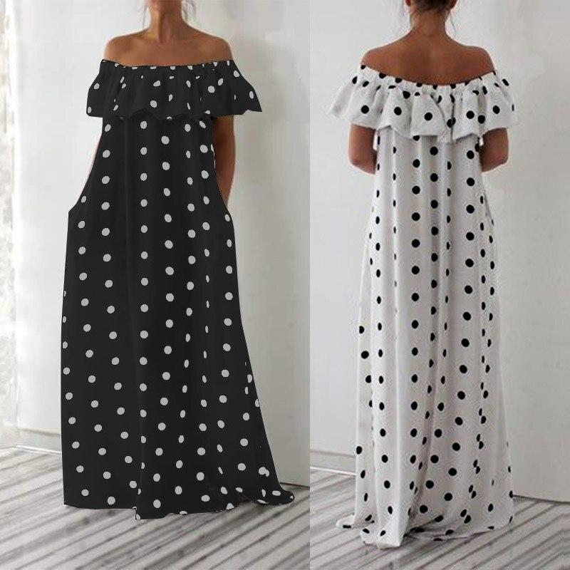 ZANZEA 2019 Summer Women Dress Ladies Sexy Off Shoulder Long Vestidos Polka Dot Print Maxi Bohemian Sundress Party White Dresses