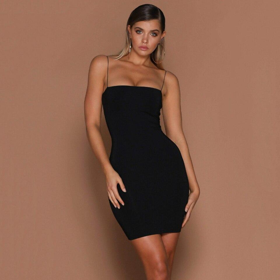 H517222b6a75547fc8c60174478380f50r 2019 Womens Summer Solid Color Sexy Sheath Mini Dresses Evening Halter Sleeveless Club Wear Bodycon Dress Vestidos Dropshipping
