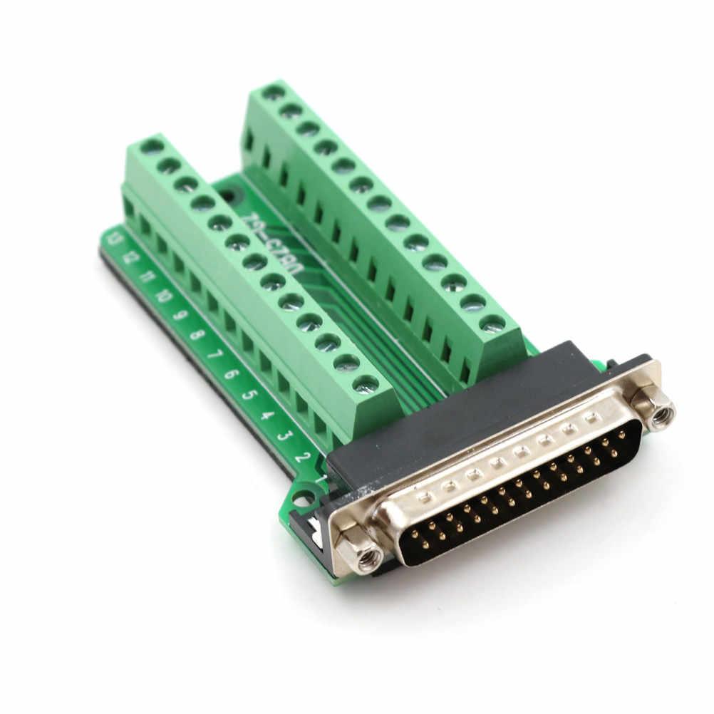 1 pièces DB25 mâle 25Pin prise carte de circuit imprimé 2 bornes de rangée connecteurs
