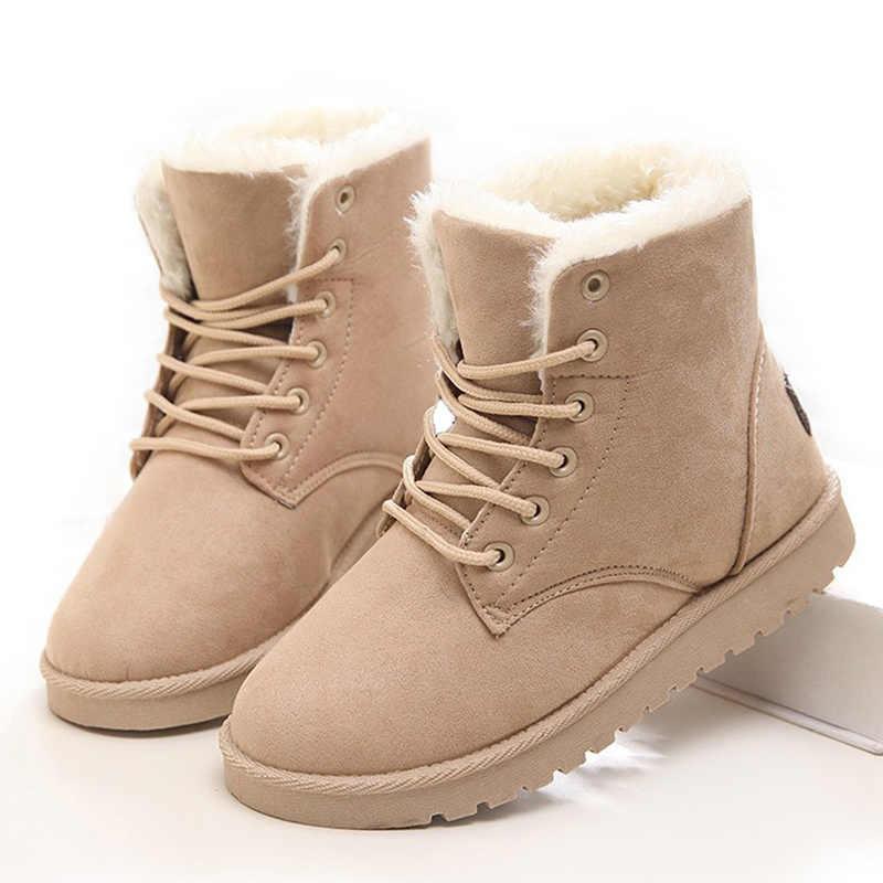 Kadın botları moda kış ayakkabı sıcak kürk kar botları kadınlar sahte süet ayak bileği çizmeler kadın ayakkabıları kadın kış botları Botas Mujer