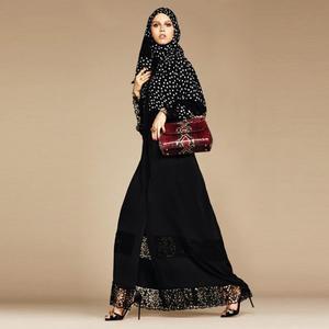 Newest hollow cut Elegant lace stitching opened abaya Muslim peignoir female muslim Dresses Dubai Islamic Turkey abayas F1714