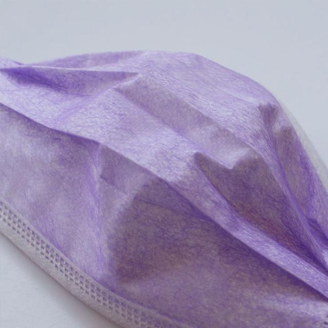 10pcs/200pcs Purple 3-Layer Mask Mouth Non Woven Disposable Masks Meltblown Cloth Masks Earloops Masks 3