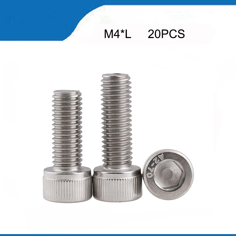 20pcs <font><b>M4</b></font>*6/8/10/12/14/16/18/20/25/<font><b>30</b></font> mm Allen Hex Socket Head Screw Bolt <font><b>M4</b></font> Stainless Steel hexagon Screws Furniture Fastener image