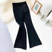Wasteheart Autumn Winter Women Fashion Black Long Pants Flare High Waist Nylon Casual Ankle Bottom Slim Plus Size