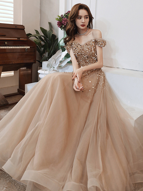 Sexy Spaghetti Straps Sparkle Prom Dresses Long 2020 V-neck A-line Floor-length Sequined Women Formal Gowns For Evening Party 2