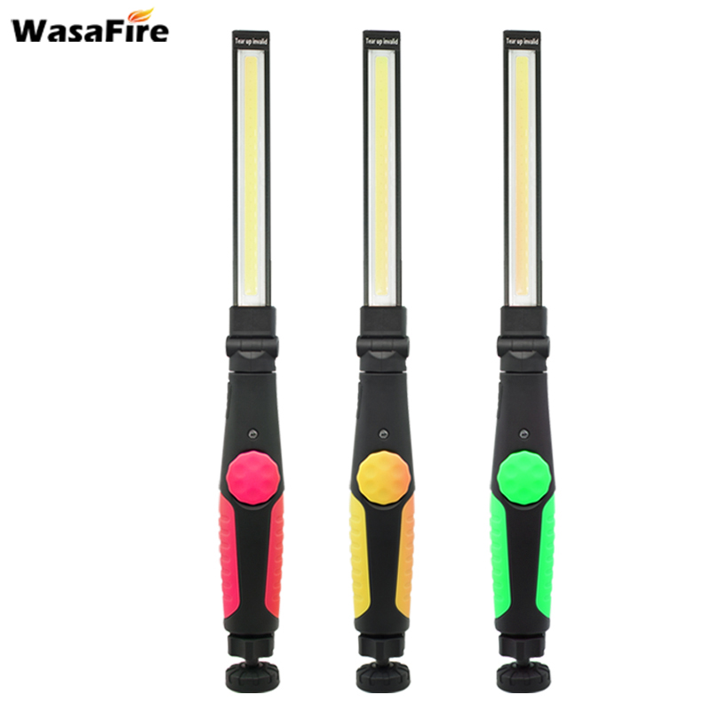 USB Rechargeable Portable Light Built-in Battery COB Flashlight Hook Hanging Lamp COB LED Slim Work Light For Car Repair Camping