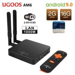 UGOOS AM6 Amlogic S922X Smart Android 9,0 caja de TV DDR4 2 GB RAM 16 GB ROM 2,4G 5G wiFi 1000 M LAN Bluetooth 5,0 4 K HD reproductor de medios