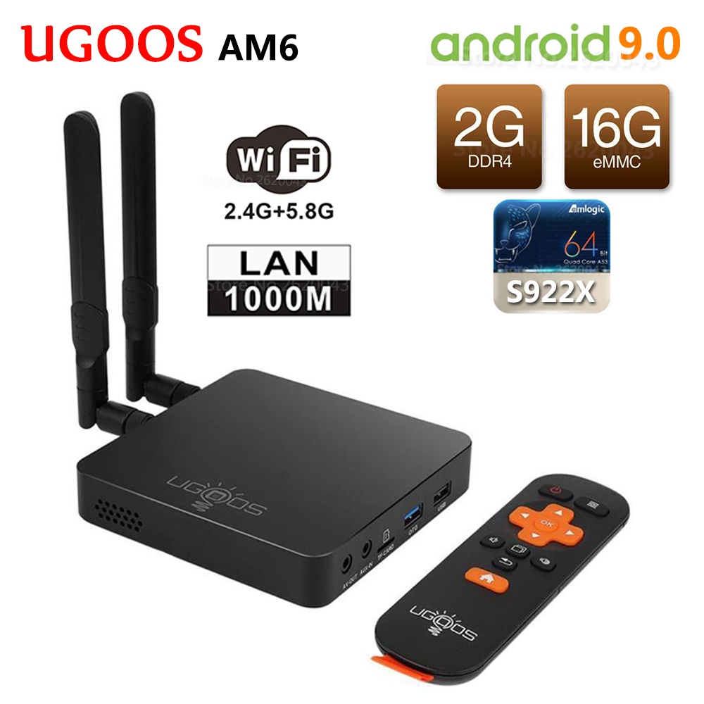 UGOOS AM6 S922X Inteligente Android 9.0 Caixa de TV Amlogic DDR4 16 2 GB RAM GB ROM 2.4G 5G wi-fi LAN 1000 M Bluetooth 5.0 4 K HD Media Player