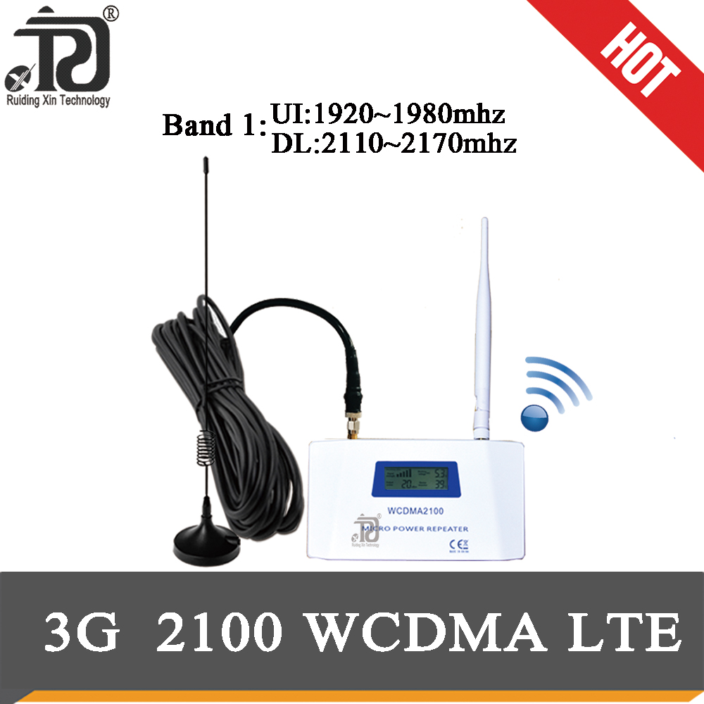 70dB Gain4Gsignal Booster 2100(LTE Band 1)WCDMA UMTS 3GMobile Signal Booster+Whip Antenna+high Gain Sucker Aerial+10m Cable Suit