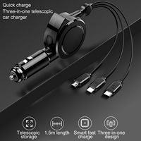 Car-Charger Adapter Universal Retractable Charger Cable 150cm PD Fast Charging Quick for Phone Type-C