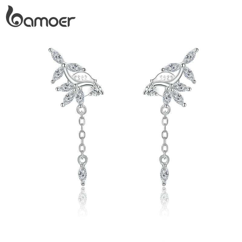 Bamoer Genuine 925 Sterling Silver Shiny Dazzling Zircon Earrings For Women Wedding Statement Jewelry 2020 New Brincos BSE350