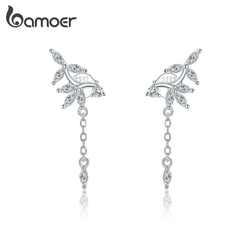 Bamoer Genuine 925 Sterling Silver Shiny Dazzling Zircon Earrings For Women Wedding Statement Jewelry 2020 New Brincos BSE350