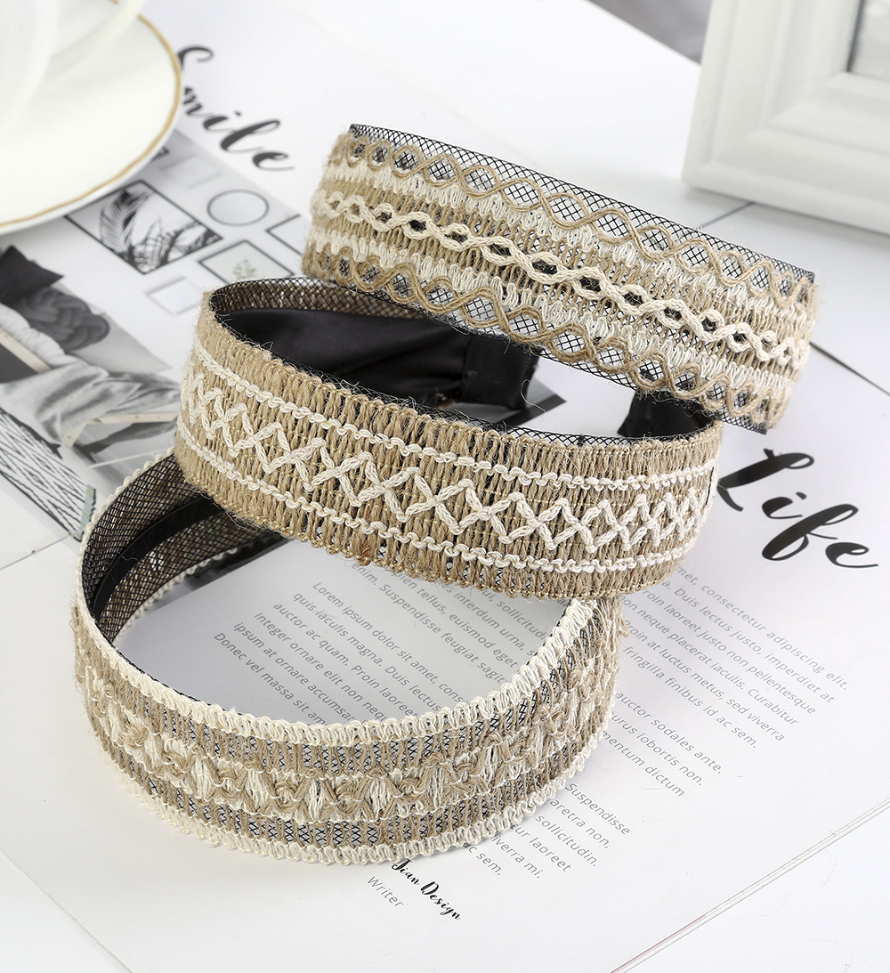 Haimeikang Women Retro Head Hoop Headband Fashion Vintage Bezel Headwear Headdress Handmade New Style Hair Accessories