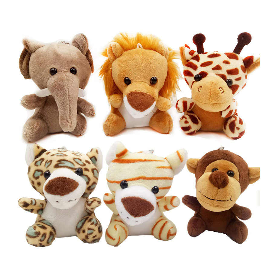 1PC Cute Stuffed Doll Jungle Brother Tiger Elephant Monkey Lion Giraffe Plush Animal Toy Keychain Best Gifts for Kids