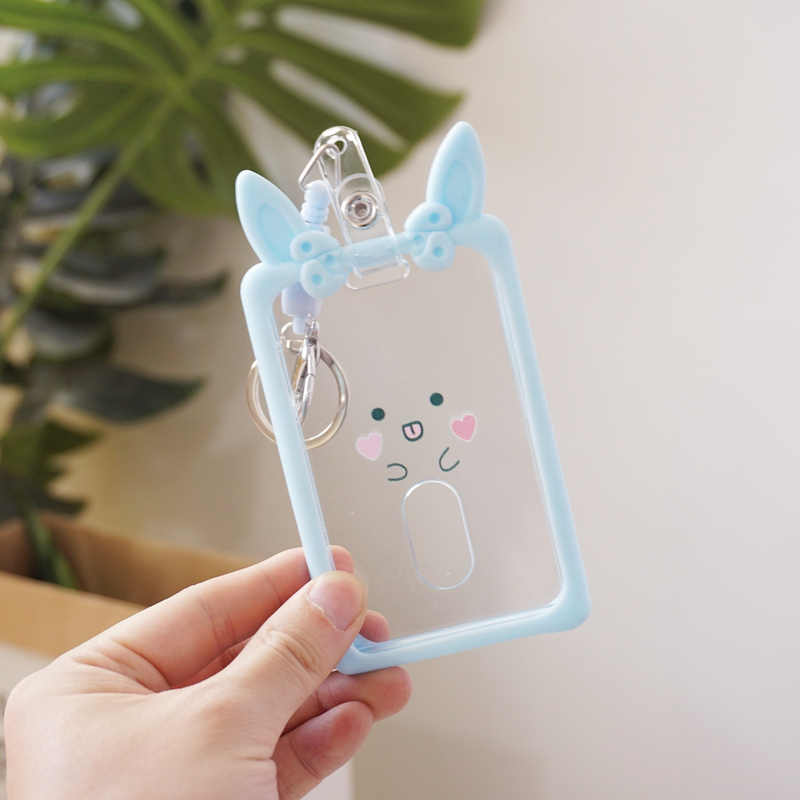 Transparent Silicone Ear Pass Cover ID Card Holder Retractable Badge Card Case