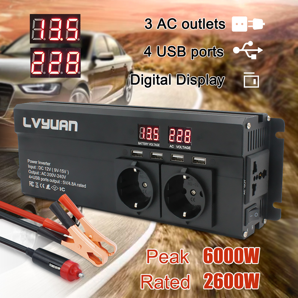 Car Inverter 6000W Peak DC12V 24V to230V EU socket LED Display Modified sine wave with 4 8A 4USB 3AC Sockets Power Inverter