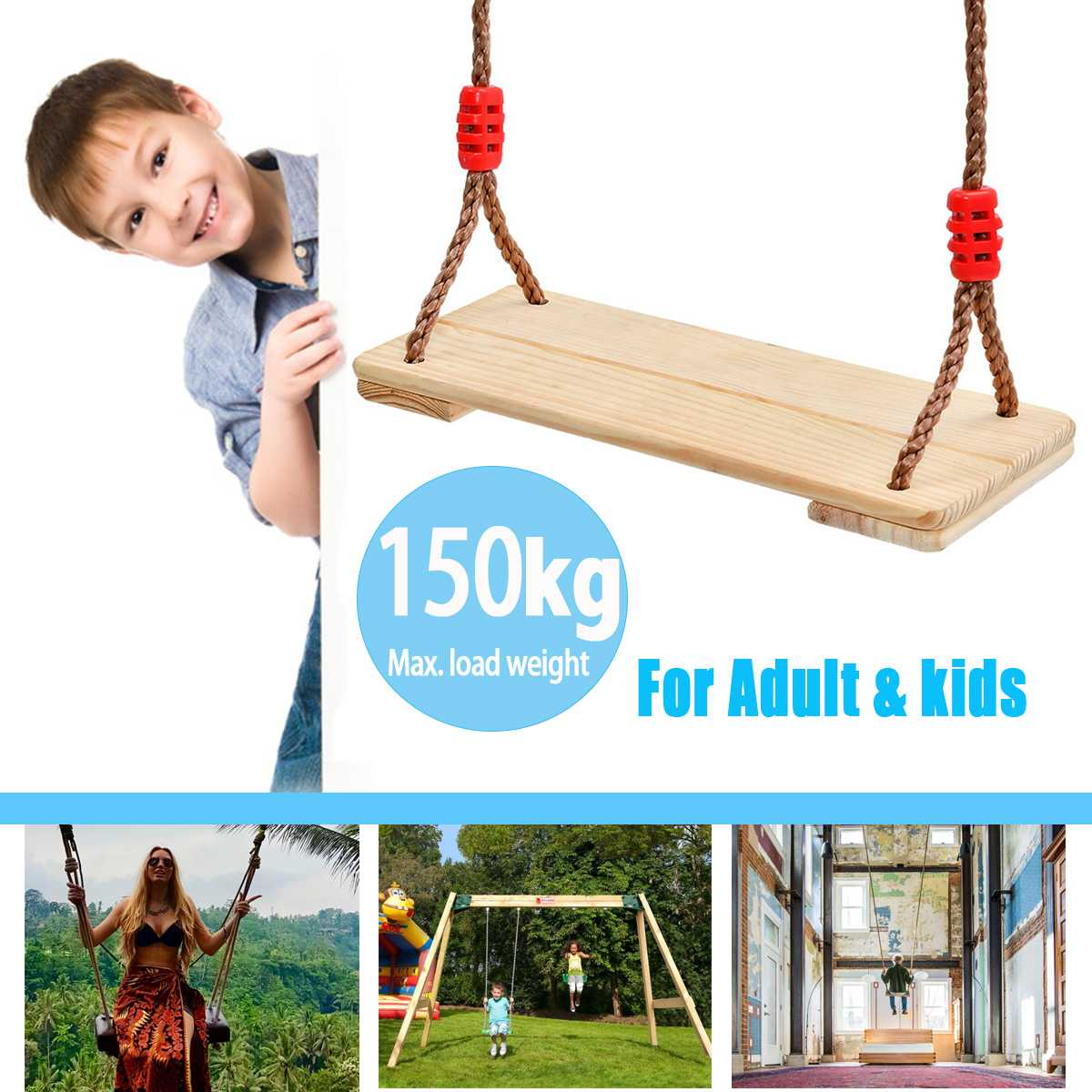 150Kg Wooden Swing Seat Chair Adjustable Rope For Children Adults Outdoor Games