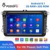 Podofo 2 Din Android 8.1 araba Stereo radyo için 8 ''dokunmatik ekran araba MP5 çalar Bluetooth GPS FM AM radyo alıcısı VW