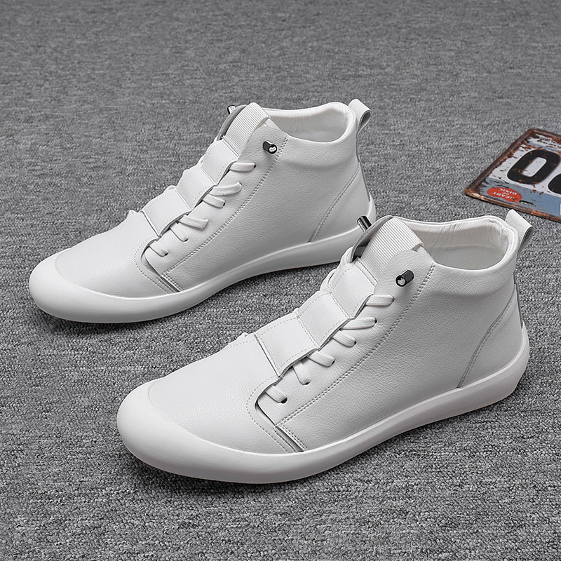 100% Genuine Leather Shoes Men High Top Sneakers Fashion Men White Shoes Cool Street Young Man Footwear Male Sneakers KA2032