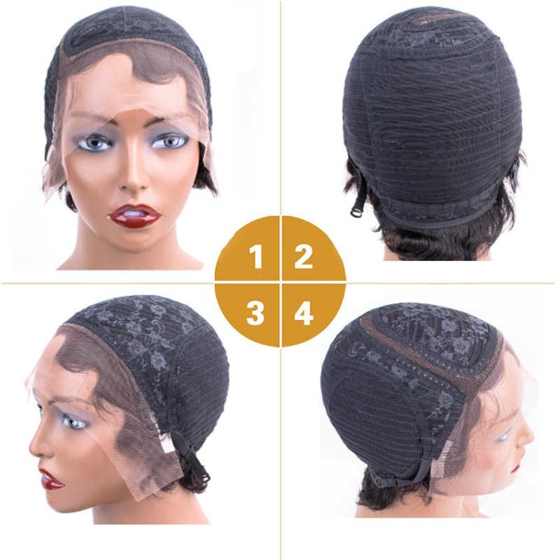 Короткие человеческие волосы парики 13*2 парик шнурка для женщин океан волнистый Боб человеческих волос парики Dorisy не Remy сторона часть человеческих волос парик