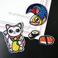 1 компл. Японский Винтажный стиль Фортуна кот Scarp лосось суши Вышивка Ткань наклеенная брошь железо на патчи пришить Аппликация значок - фото