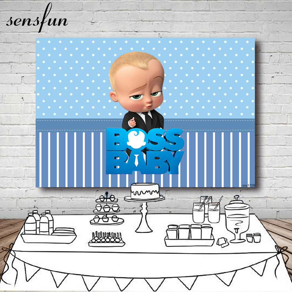 Sensfun Blue Theme Boss Baby Photography Backgrounds Light Skin Gold Hair Boys Birthday Party Backgrounds Photo Studio Banner Background Aliexpress