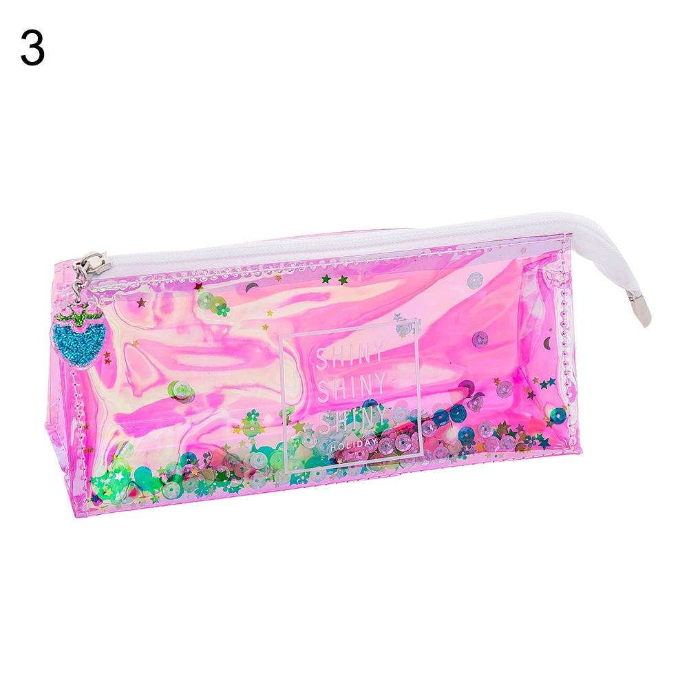 Hand Gesture Lip Sequin Liquid Pen Cute Pencil Case Kawaii Student Zipper Bag Pouch Gift School Supplies