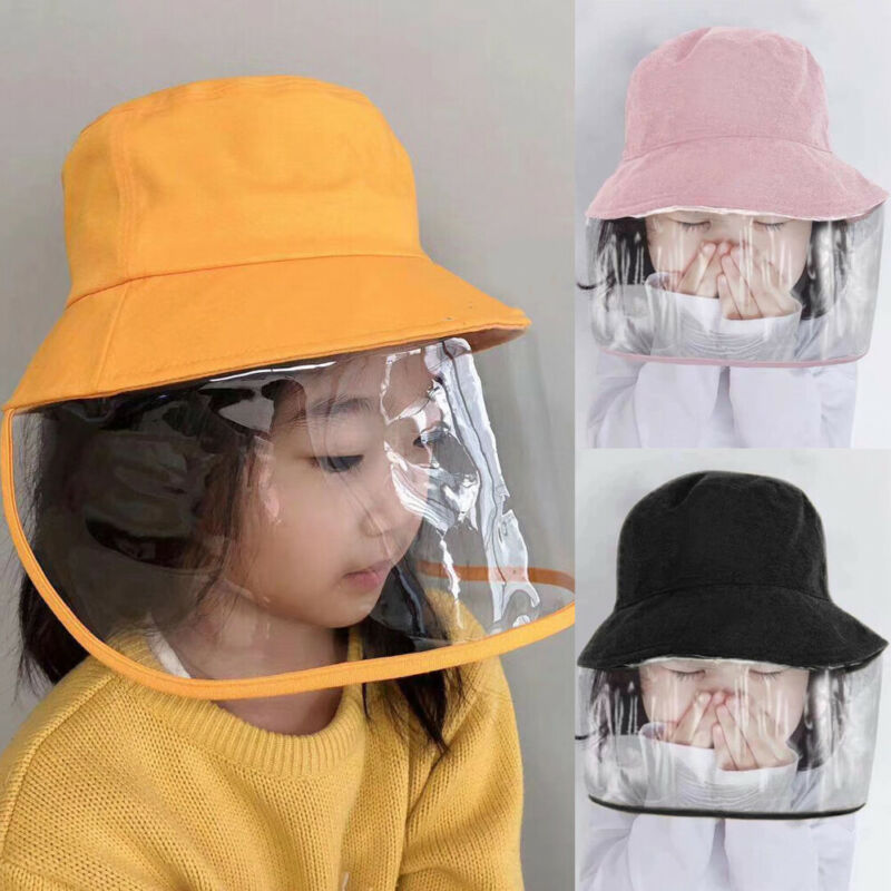 Kid Anti Spitting Protective Hat Face Shield Fishing Caps Safety Anti-dust Toddler Children Outdoor Protective Mask Bucket Hat