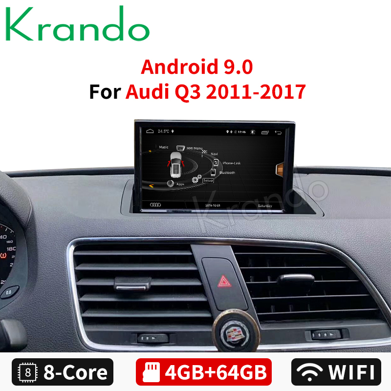 Krando Android 8.0 8-Core 4+64G Car radio audio GPS Navigation multimedia player with 4G WIFi TB for Audi Q3 2011 2012 2013-2017