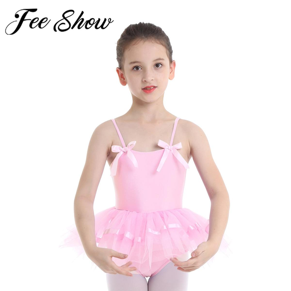 Girls Gymnastics Ballet Dress Kids Leotard Tutu Skirt Dance Ballerina Costume