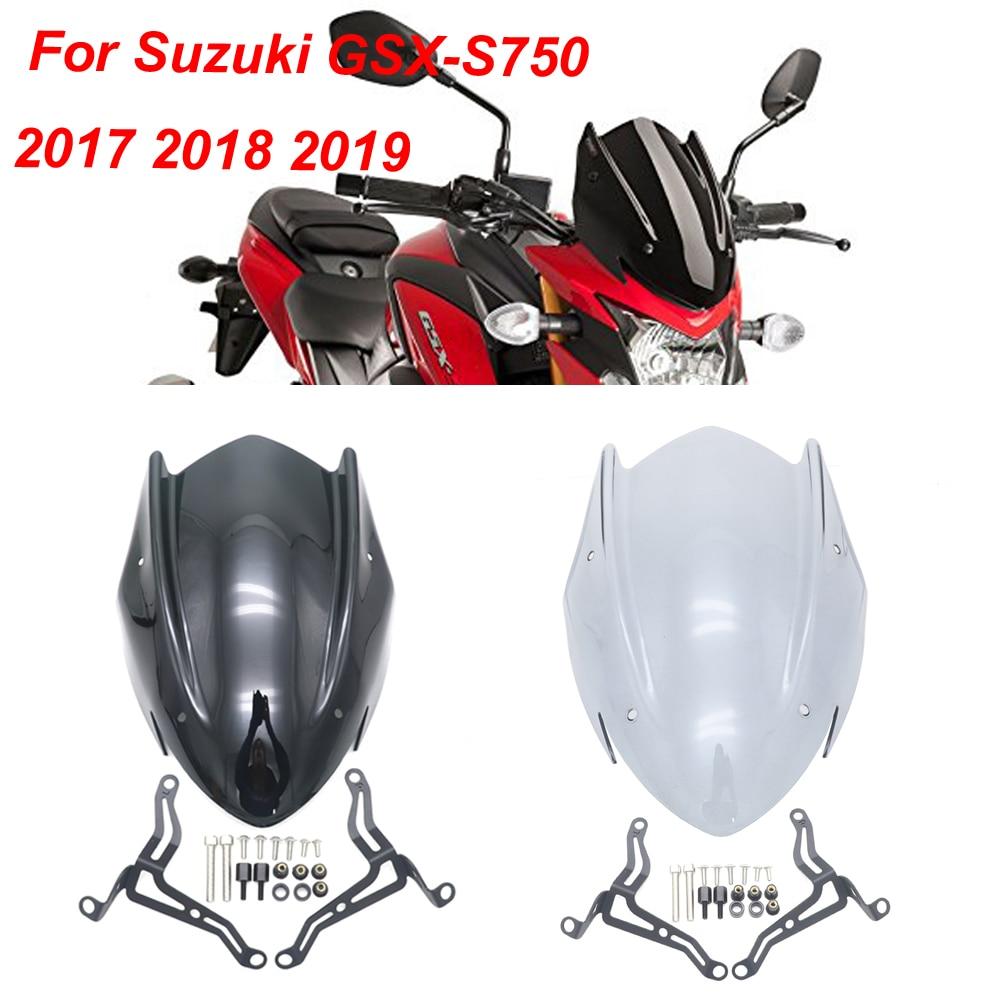 Windscreen shield windscreen com suporte para suzuki GSX-S750 gsxs750 GSX-S gsxs 750 2017 2018 2019 cor preta transpare