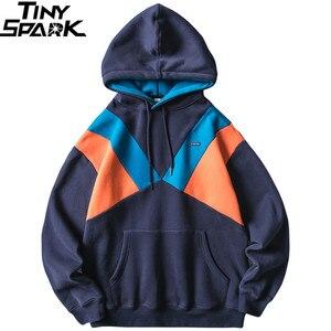 Image 1 - 2019 Streetwear Männer Hoodie Sweatshirt Harajuku Winter Fleece Hoodie Pullover Hip Hop Farbe Block Baumwolle Herbst Beiläufige Hoodies