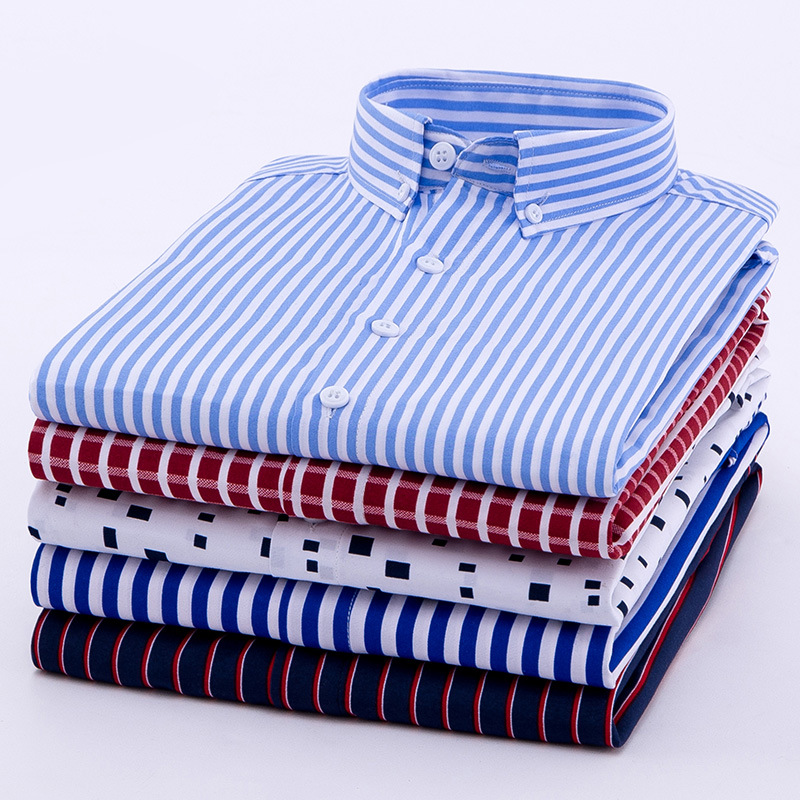 Men's Long Sleeve Shirt Slim Fit Casual Iron Striped Shirt Men's Wear