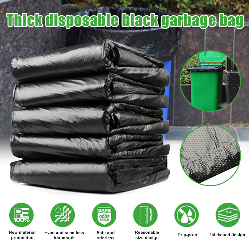 New 50pcs Trash Bags Black Heavy Duty Liners Strong Thick Rubbish Bags Bin Liners Disposable Garbage Bag Large Capacity Durable