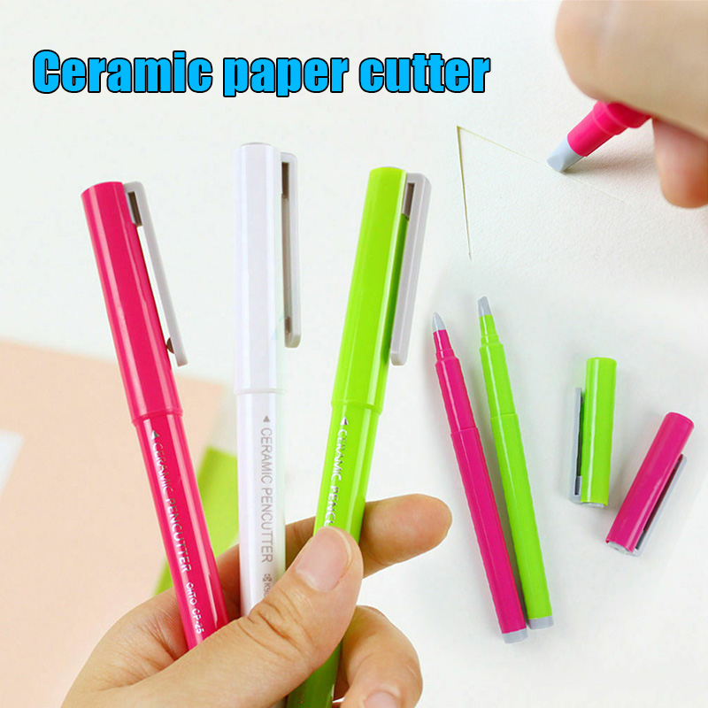 Creative Paper Pen Knife Ceramic Paper Cutter Pen Cutter Utility Cutters For Crafts Notebook DIY Multifunctional Cutting Knives