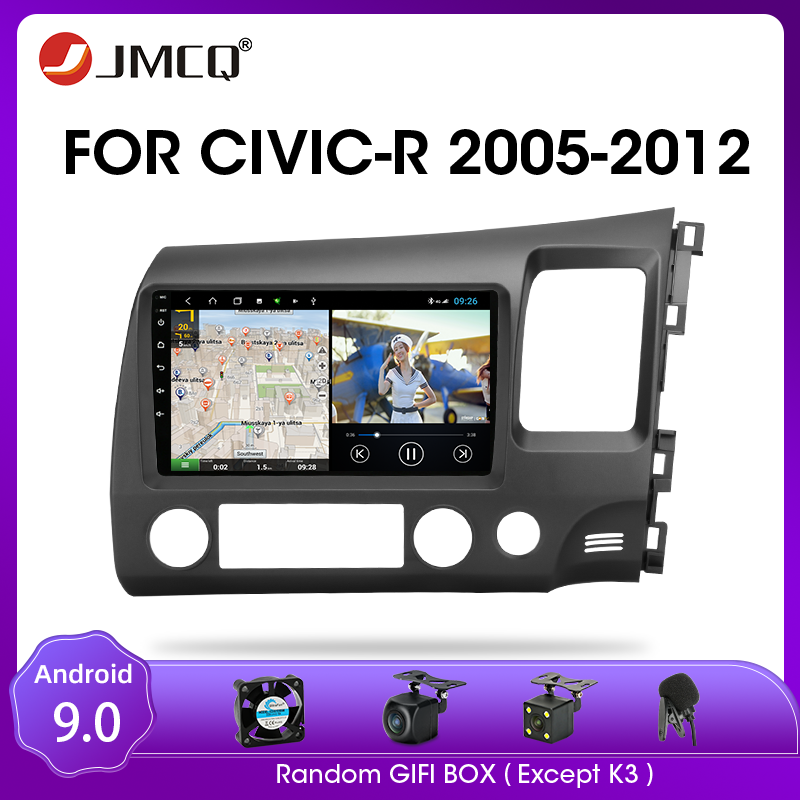 JMCQ Right Rudder Drive Android 9.0 Car Radio For Honda <font><b>Civic</b></font> 2005-2012 Multimidia Video Player 2din Mirror connection Head unit image