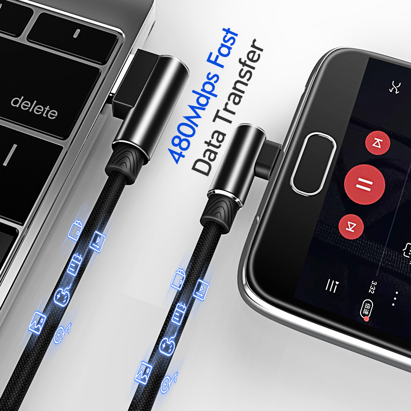 Image 3 - 마이크로 USB 케이블 3A 빠른 충전기 USB 코드 Suntaiho 90도 팔꿈치 나일론 꼰 데이터 케이블 삼성 소니 샤오미 안드로이드 전화휴대폰 유동 케이블   -