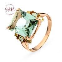 SKM Vintage 14k rose gold Amethyst rings for women flower Engagement rings designer Anniversary Luxury Fine Jewelry